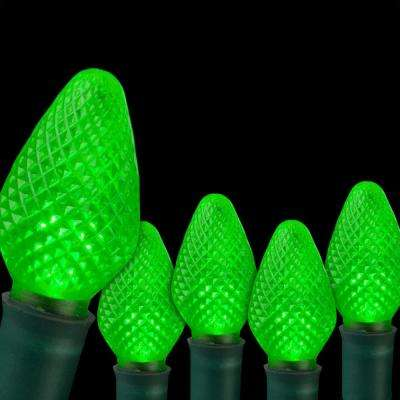 SuperBright 16 ft. 25-Light LED Green C7 String Light Set