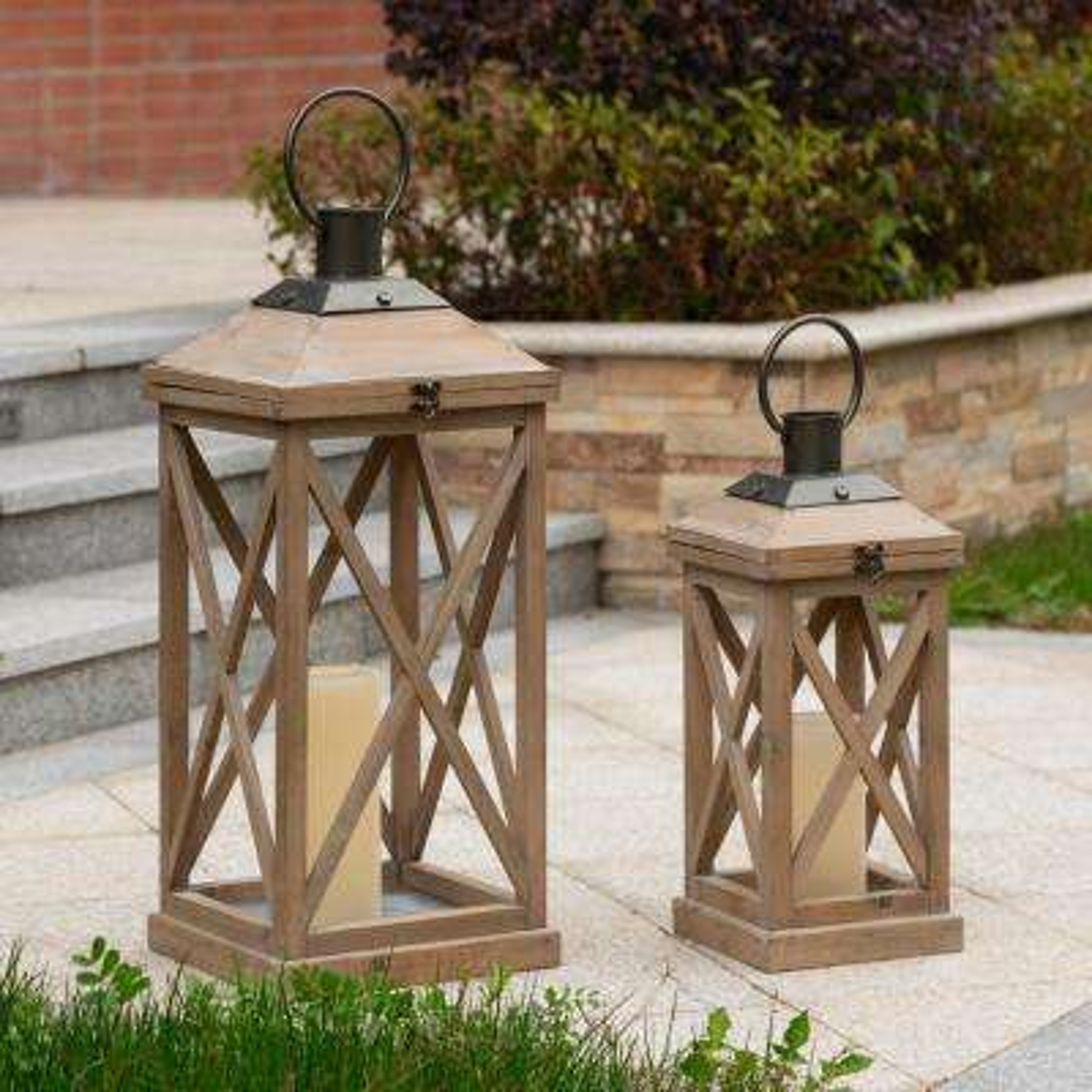 Set of 2-Mondern Brown Farmhouse Wooden Lantern