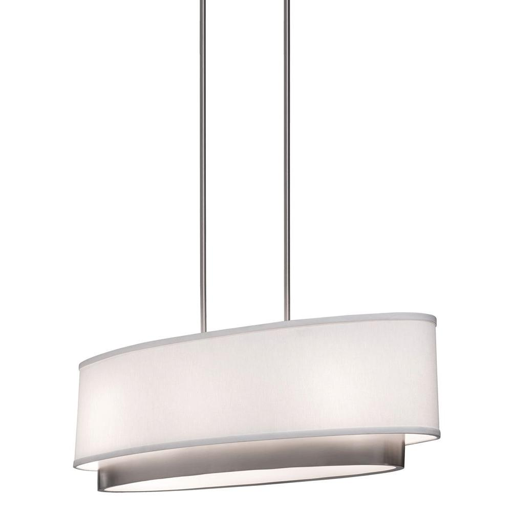 ARTCRAFT Scandia 3-Light Brushed Nickel Island Light Scandia Oval Chandelier featuring a linen white shade with a brushed nickel inner trim that peaks out the bottom enclosed by a acid white glass diffuser