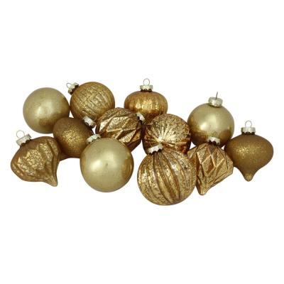 4 in. (100 mm) Gold Mercury Glass Christmas Glass Ball and Onion Drop Ornaments (12-Count)