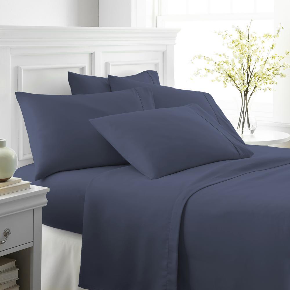 Performance Navy Queen 6-Piece Bed Sheet Set