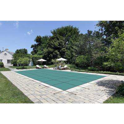 16 ft. x 32 ft. Rectangle Green Mesh In-Ground Safety Pool Cover Right Side Step