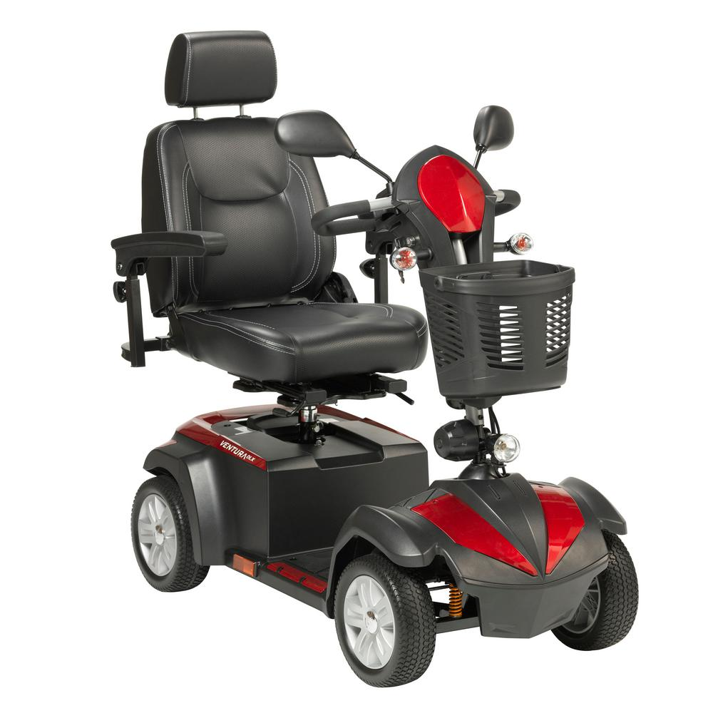 "Drive Medical Ventura Front-Wheel Power Mobility Scooter With 18"" Captain's Seat In Red"
