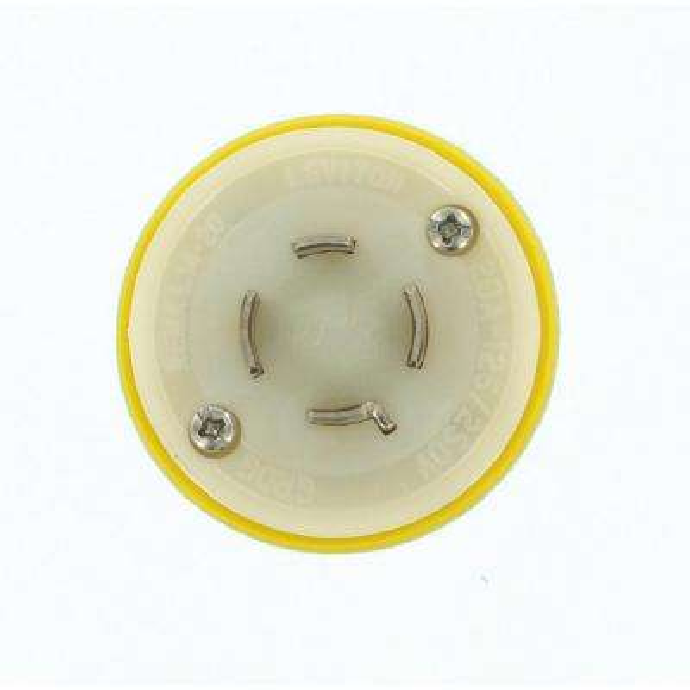 20 Amp 125/250-Volt Wetguard Locking Grounding Plug, Yellow/White