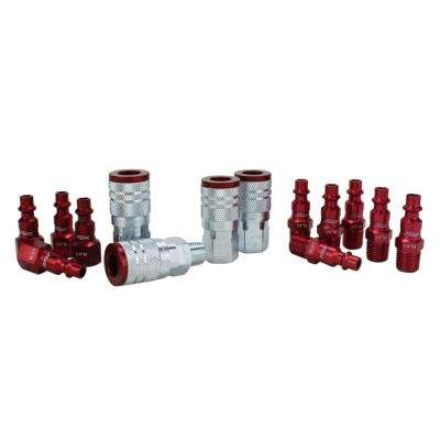 ColorFit by Milton Coupler & Plug Kit - (M-Style, Red) - 1/4 in. NPT, (14-Piece)