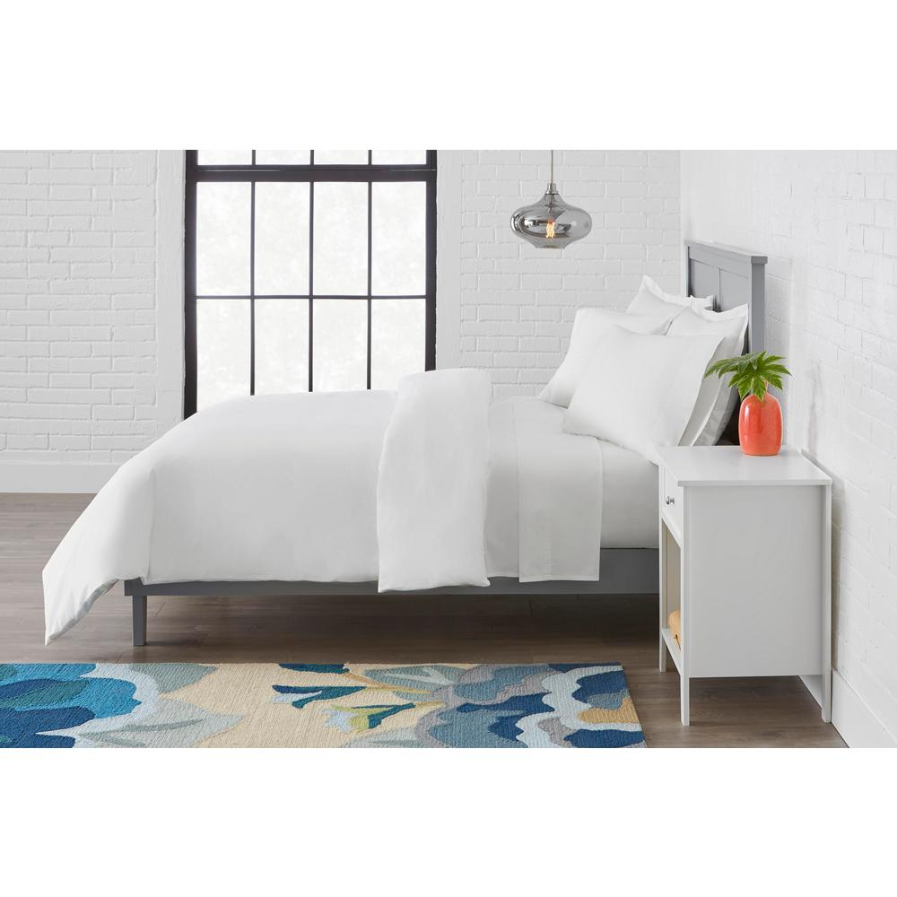 Stylewell StyleWell Vintage Washed Cotton Percale 3-Piece Full/Queen Duvet Cover Set in White