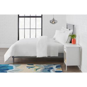 Vintage Washed Cotton Percale 3-Piece Full/Queen Duvet Cover Set in White