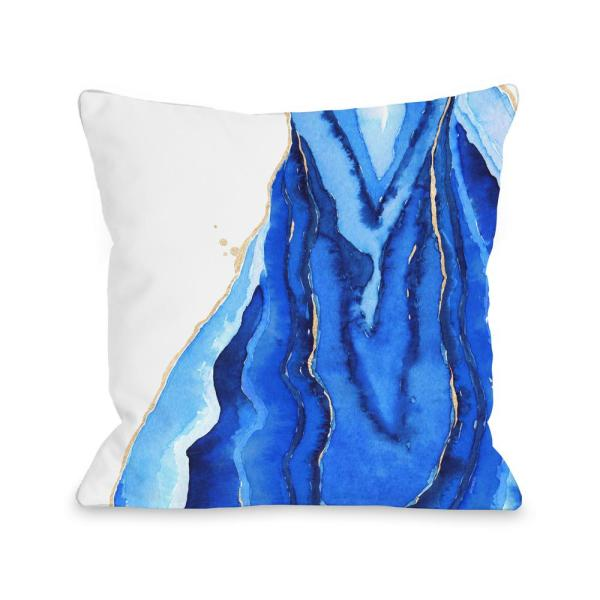 Bold Formations Blue Graphic Polyester 16 in. x 16 in. Throw Pillow