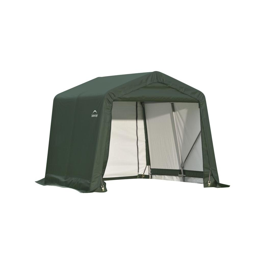 ShelterLogic 8 ft. x 16 ft. x 8 ft. Green Steel and ...