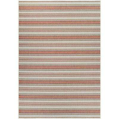 Monaco Marbella Coral-Ivory-Pewter 8 ft. x 11 ft. Indoor/Outdoor Area Rug