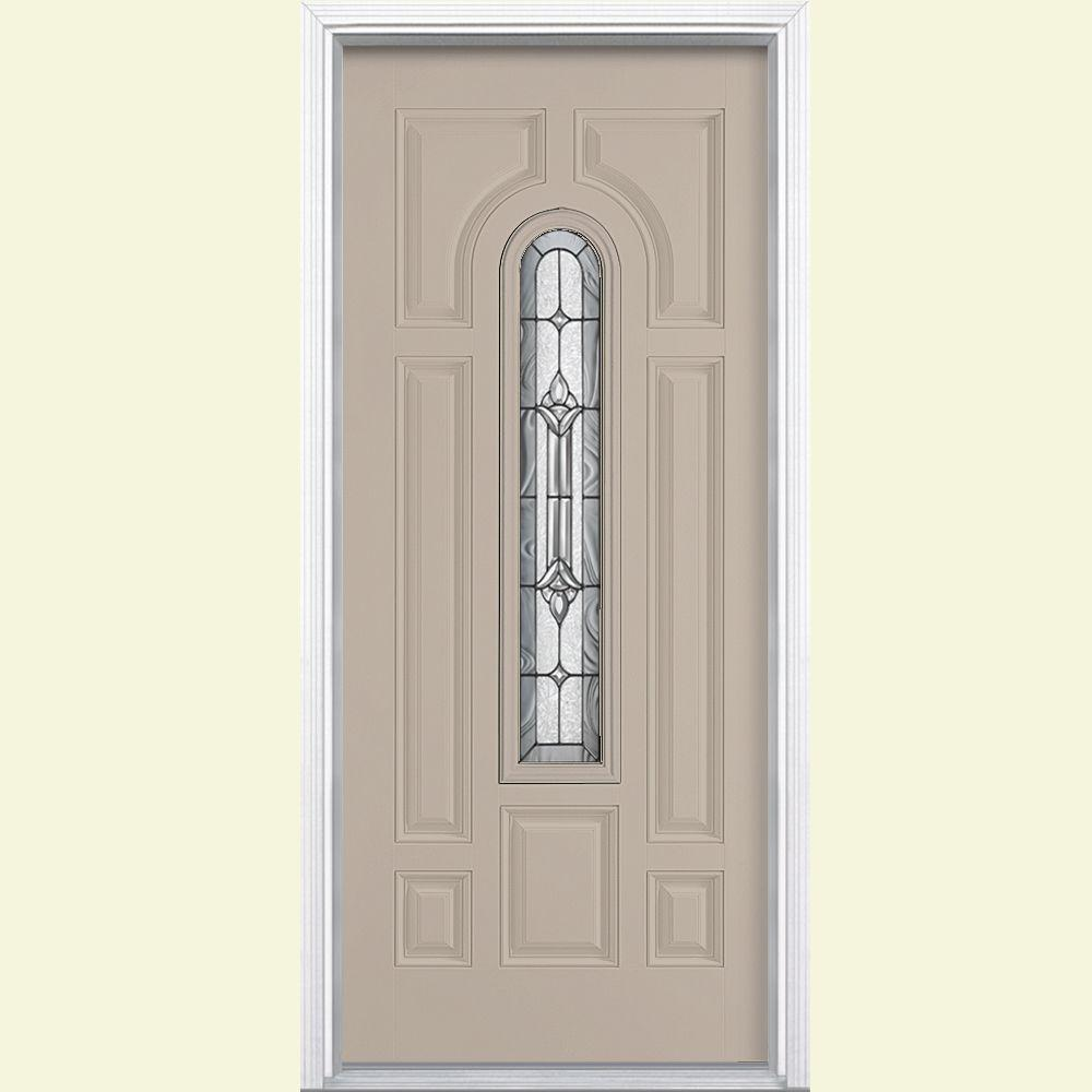 Kitchen Design Center Ri: Masonite 36 In. X 80 In. Providence Center Arch Painted Left Hand Steel Prehung Front Door With