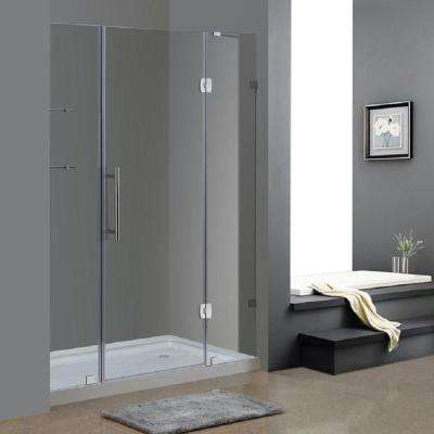 Soleil 60 in. x 77-1/2 in. Completely Frameless Hinge Shower Door in Chrome with Glass Shelves and Right Base