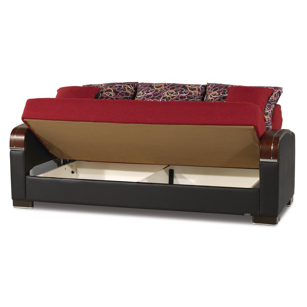 Red Fabric Upholstery Sleeper Sofa Bed