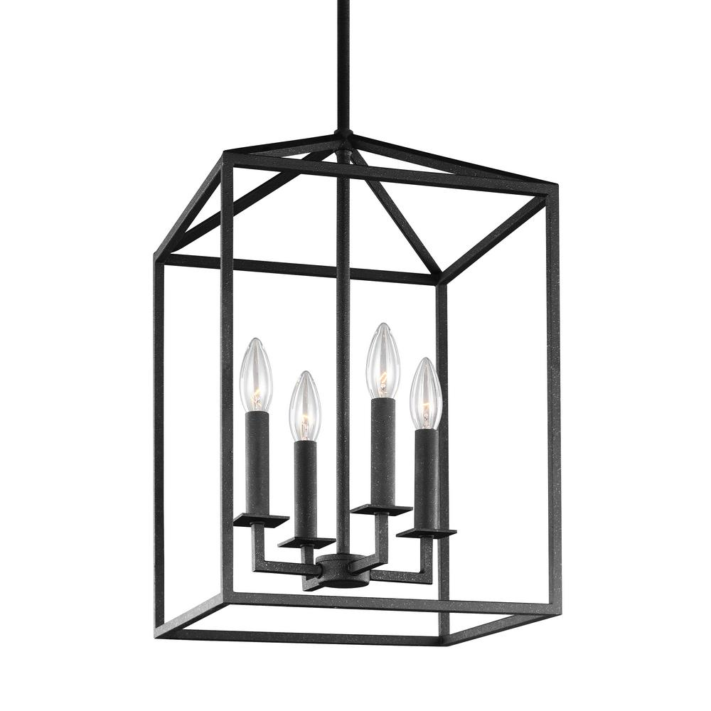 Sea Gull Lighting Perryton 4-Light Textured Blacksmith Hall-Foyer Lantern Pendant with Dimmable Candelabra LED Bulb