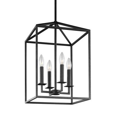 Perryton 4-Light Textured Blacksmith Hall-Foyer Lantern Pendant with Dimmable Candelabra LED Bulb