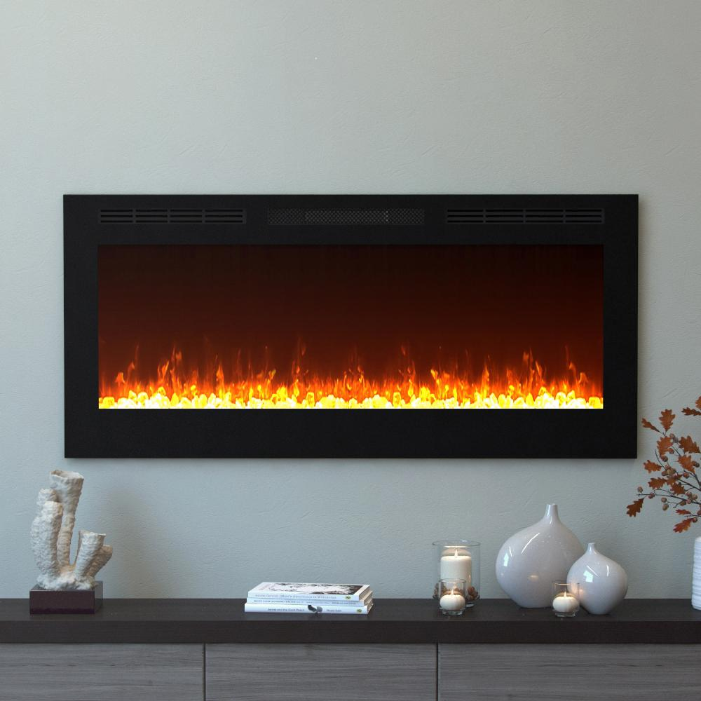 Bring a unique and stylish look to your home by choosing this Moda Flame Cynergy Crystal Electric Recessed Built-In Fireplace in Black.