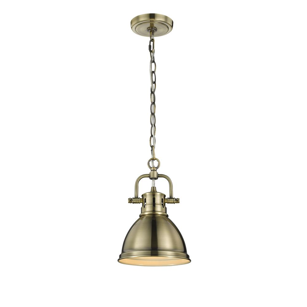 Golden Lighting Duncan Ab 1 Light Aged Brass Pendant With
