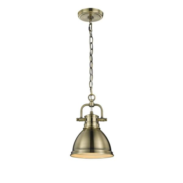 Duncan AB 1-Light Aged Brass Pendant with Aged Brass Shade