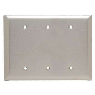 302 Series 3-Gang Jumbo Blank Wall Plate, Stainless Steel