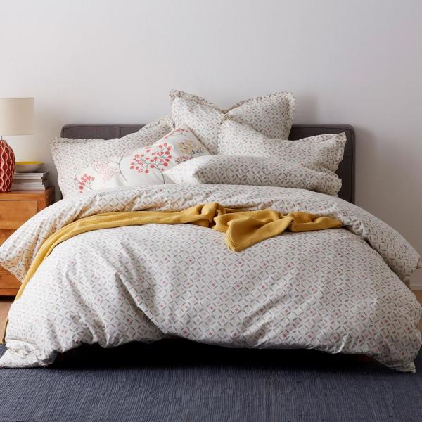 The Company Store Karlie Geo Cotton Percale Queen Duvet Cover 50311D-Q-MULTI