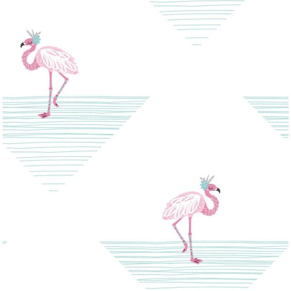 Seabrook Designs Kids Fuchsia and Teal Dancing Flamingos Wallpaper DA61701