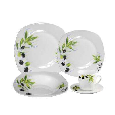 16-Piece Casual Shiny Finish Porcelain Dinnerware Set (Service for 4)