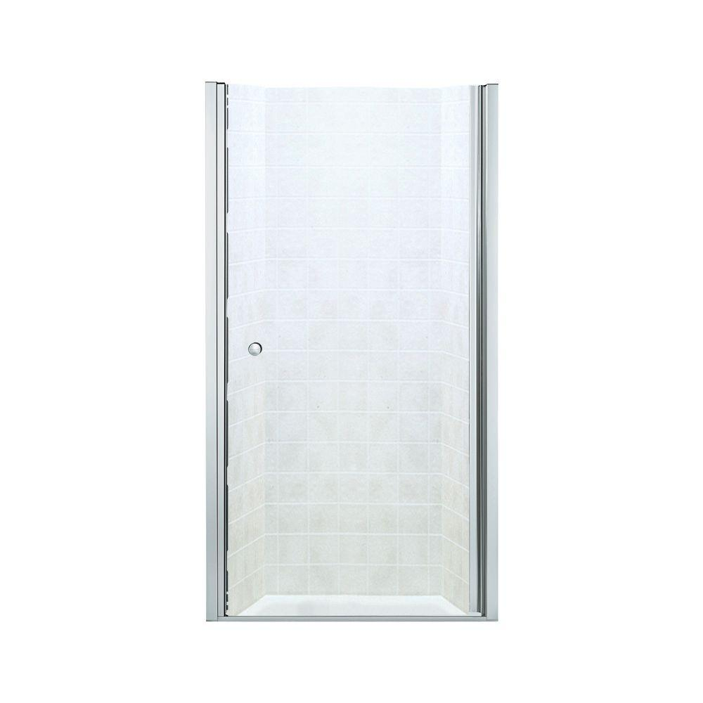 STERLING Finesse 39 in. x 65-1/2 in. Semi-Frameless Pivot Shower Door in Silver with Clear Glass Texture