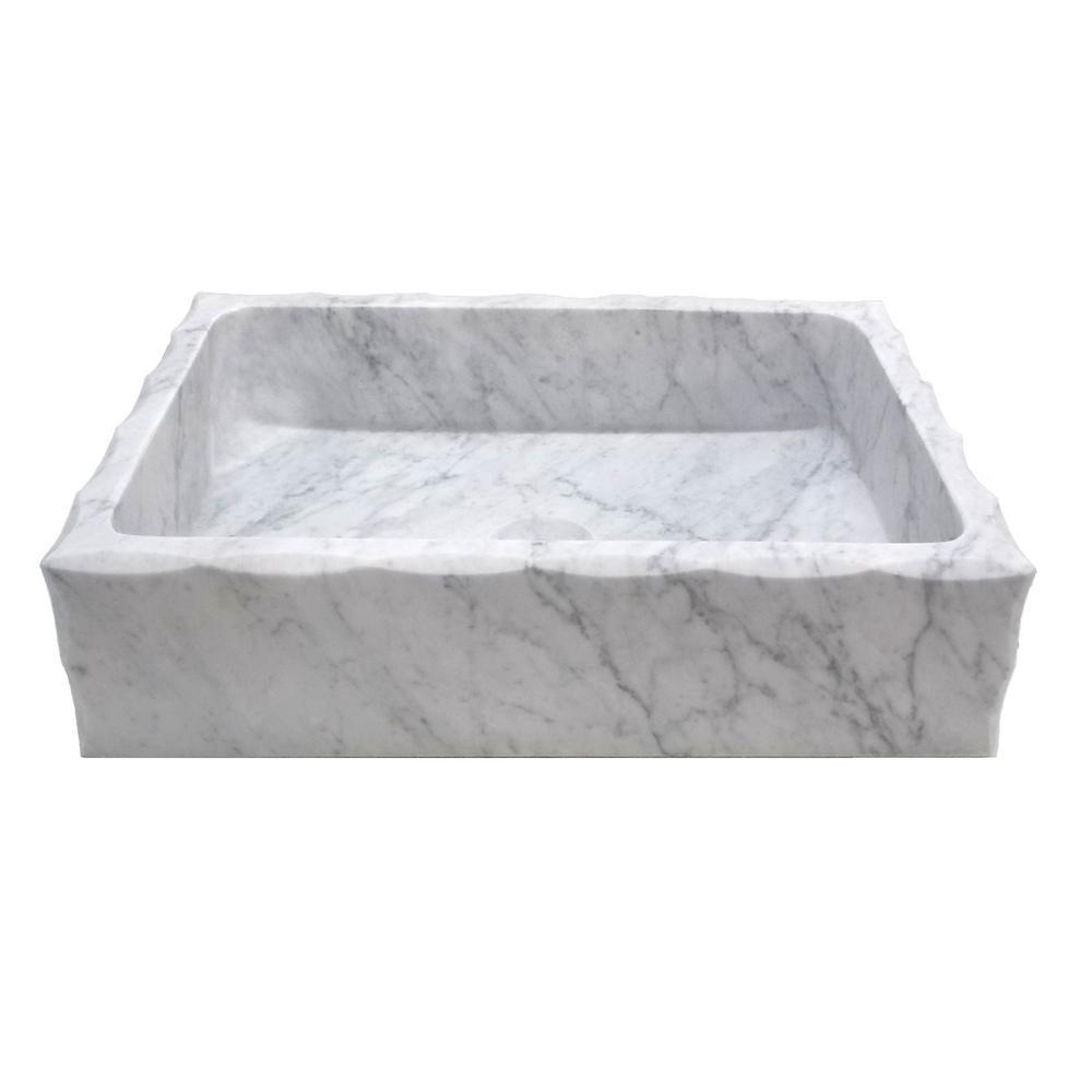 Eden Bath Antique Rectangular Vessel Sink in Honed Carrara Marble by Eden Bath