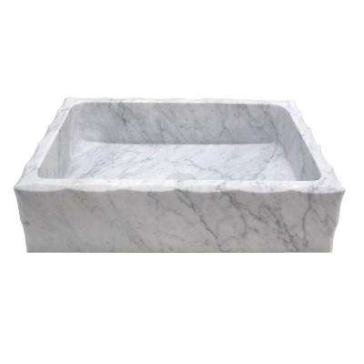 Antique Rectangular Vessel Sink in Honed Carrara Marble