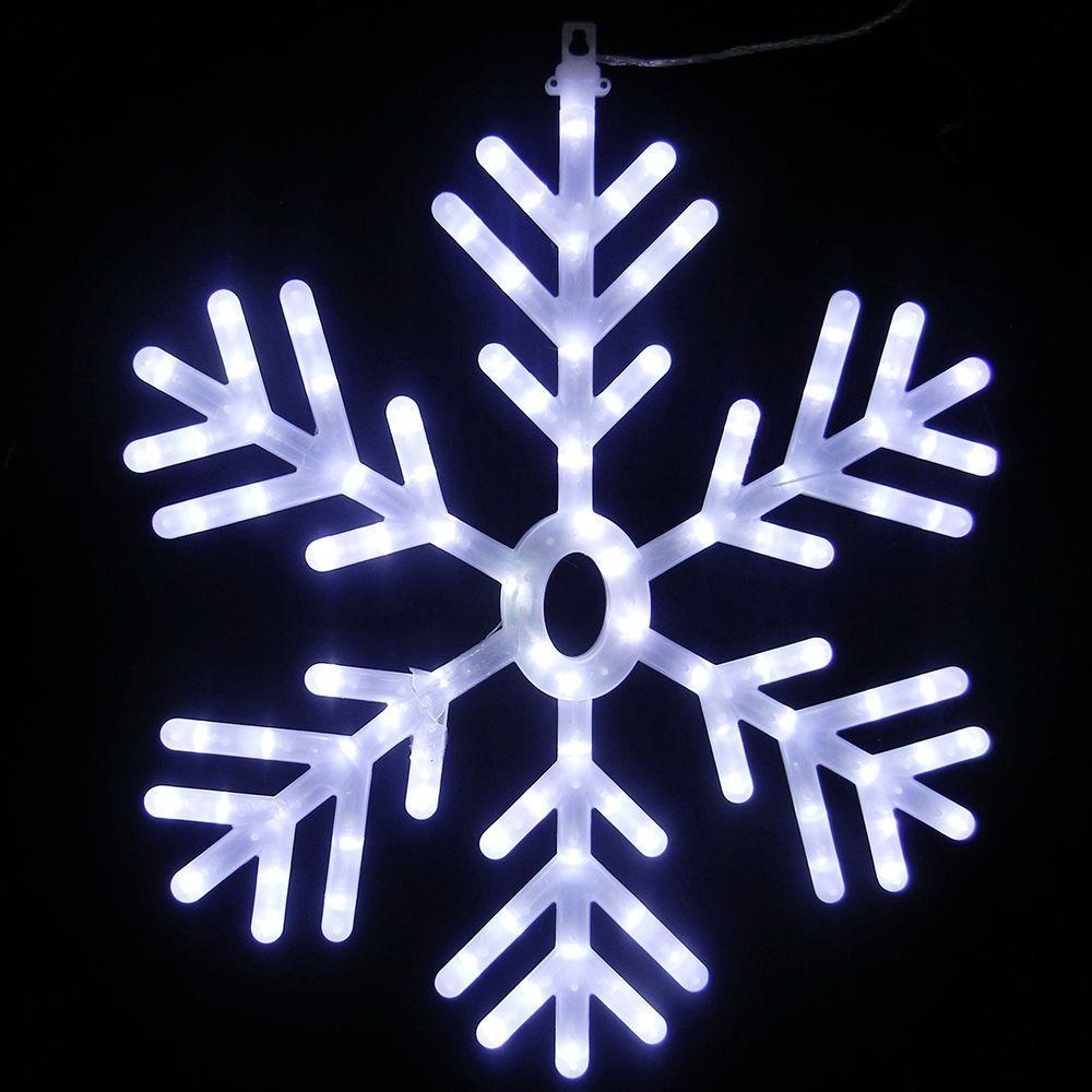 Alpine 25 inch 102-Light White LED Hanging Snowflake Decor by Alpine