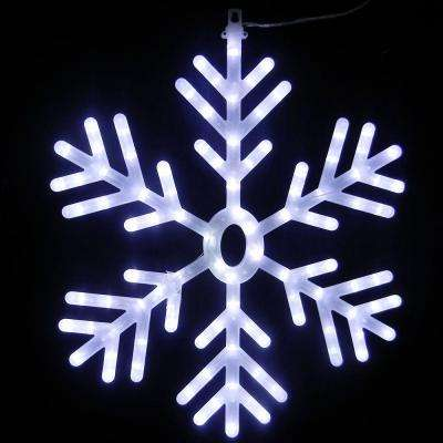 25 in. 102-Light White LED Hanging Snowflake Decor