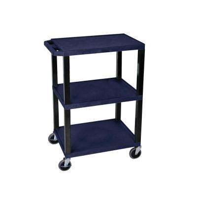 WT 24 in. W x 18 in. D 3-Shelf Audio Visual Cart in Navy and Black