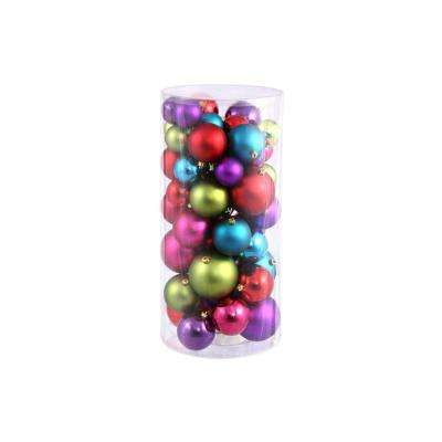 Multi-Color Shiny and Matte Shatterproof Christmas Ball Ornaments (50-Count)