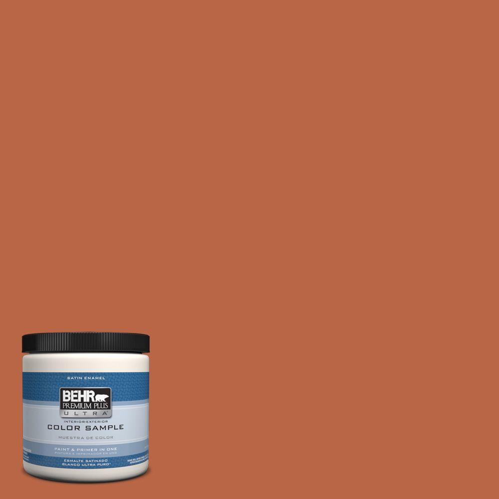 behr premium plus ultra 8 oz hdc fl15 01 pumpkin drizzle interior exterior satin enamel paint. Black Bedroom Furniture Sets. Home Design Ideas
