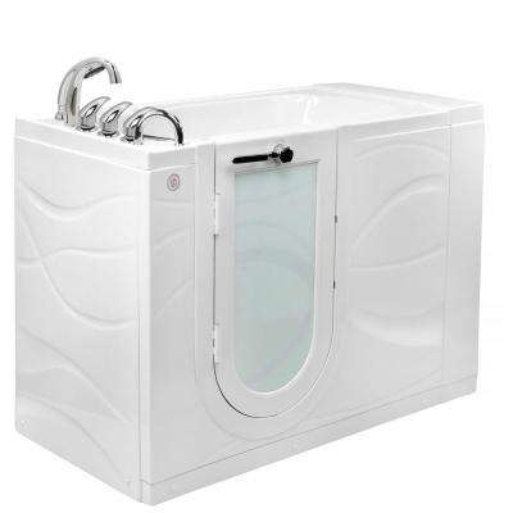 Zen 52 in. Walk-In MicroBubble Air Bath Bathtub in White W/ LHS Outward Swing Door, Heated Seat, Faucet, LHS Dual Drain