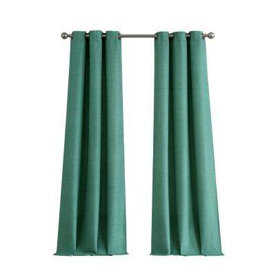 Raw Faux Silk Grommet 76 in. x 96 in. Curtain Panel Pair in Teal