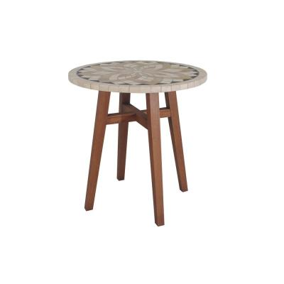 Round Wood and Stone Balcony Height Outdoor Dining Table