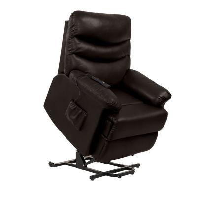 Power Recline and Lift Chair in Coffee Brown Renu Leather