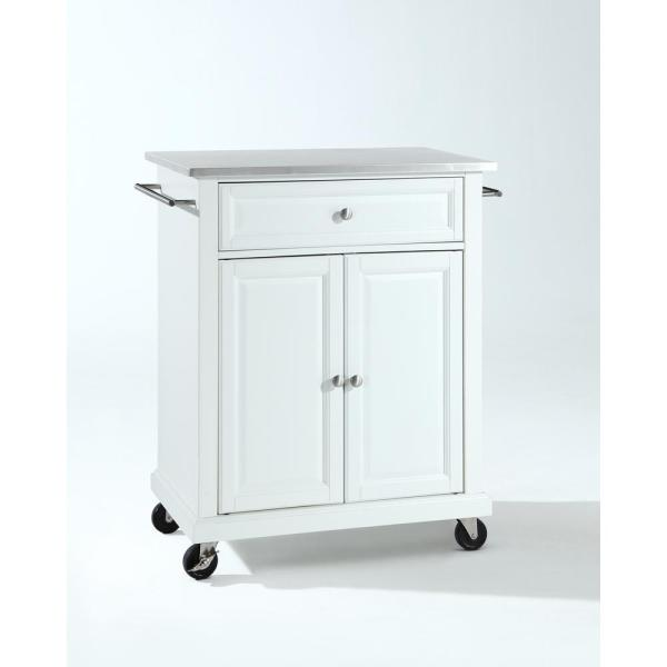 Rolling White Kitchen Cart with Stainless Top
