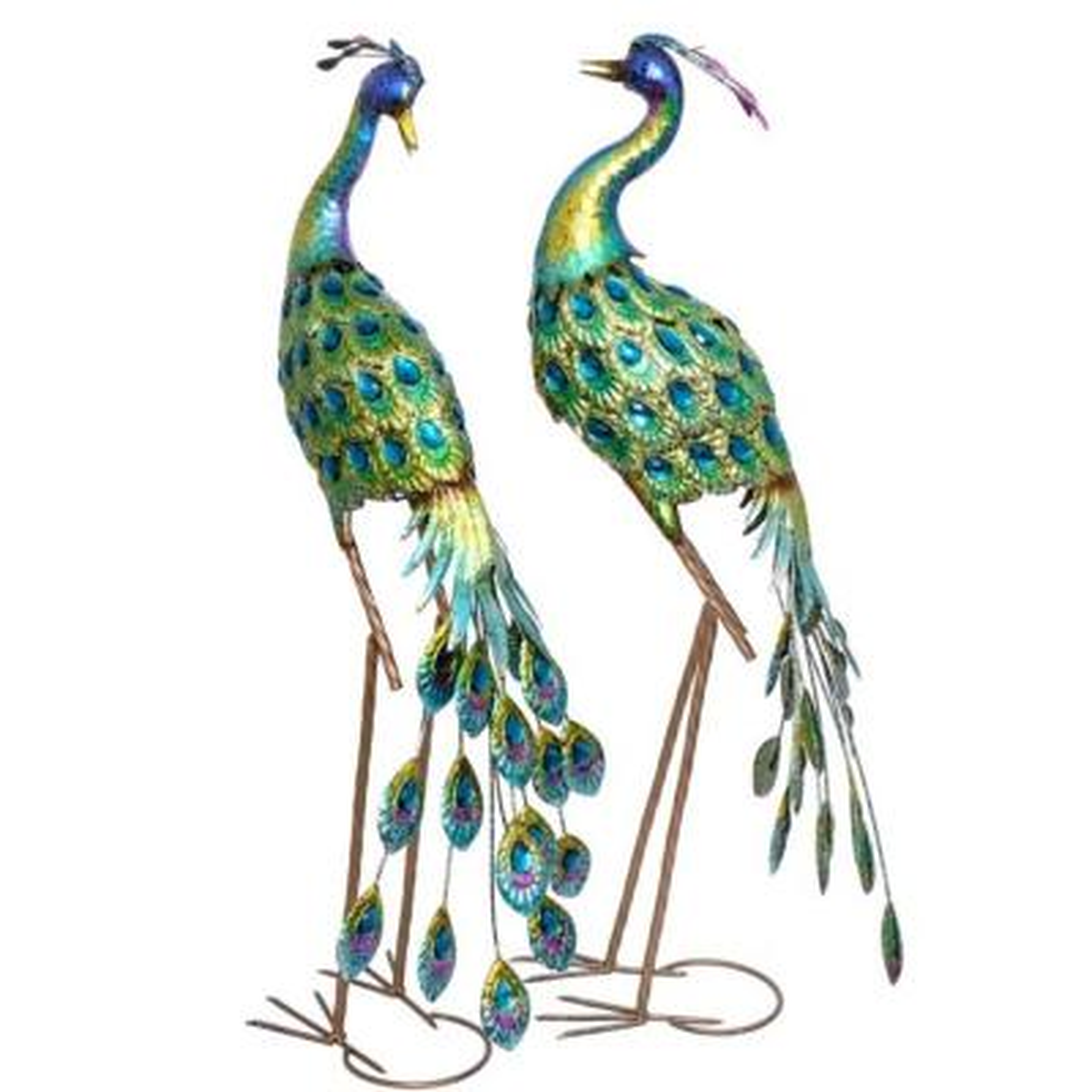Set of 2 Iron Peacocks with Blue Finish