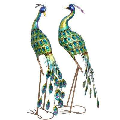 Set of 2 Iron Peacocks with Blue Finish