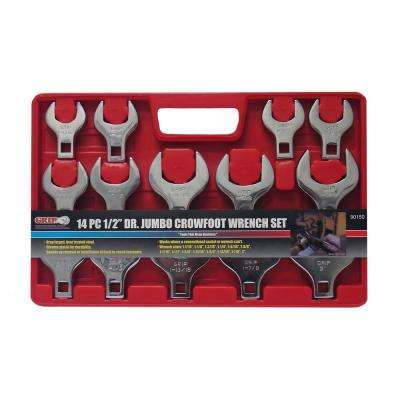 1/2 in. Drive SAE Jumbo Crowfoot Wrench Set (14-Piece)