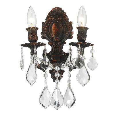 Versailles Collection 2-Light Flemish Brass Crystal Sconce