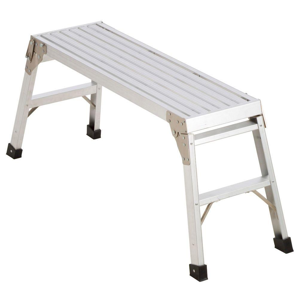 Werner 39-1/2 in. x 12 in. x 20-9/16 in. Aluminum Work Platform-AP-20 - The Home Depot  sc 1 st  The Home Depot : home depot folding step stool - islam-shia.org