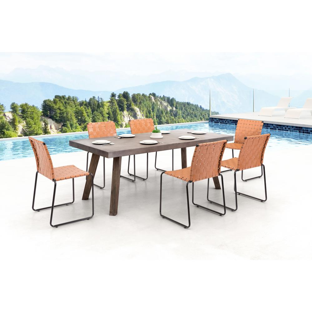 ZUO Beckett Armless Metal Outdoor Dining Chair In Tan (4 Pack)