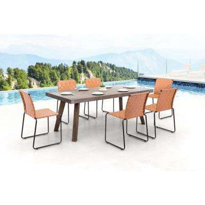 Beckett Armless Metal Outdoor Dining Chair in Tan (4-Pack)