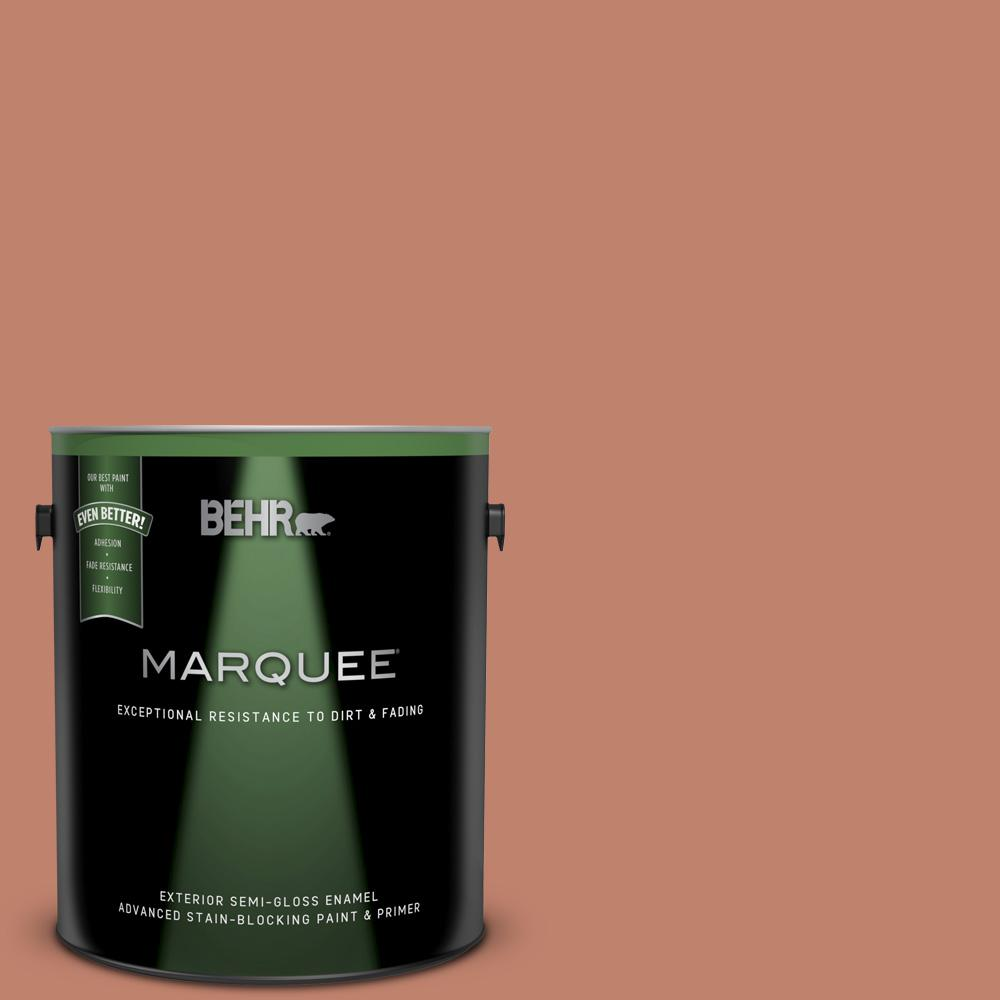 Behr Marquee 1 Gal Qe 03 Clay Ground Semi Gloss Enamel Exterior Paint And Primer In One 545401 The Home Depot