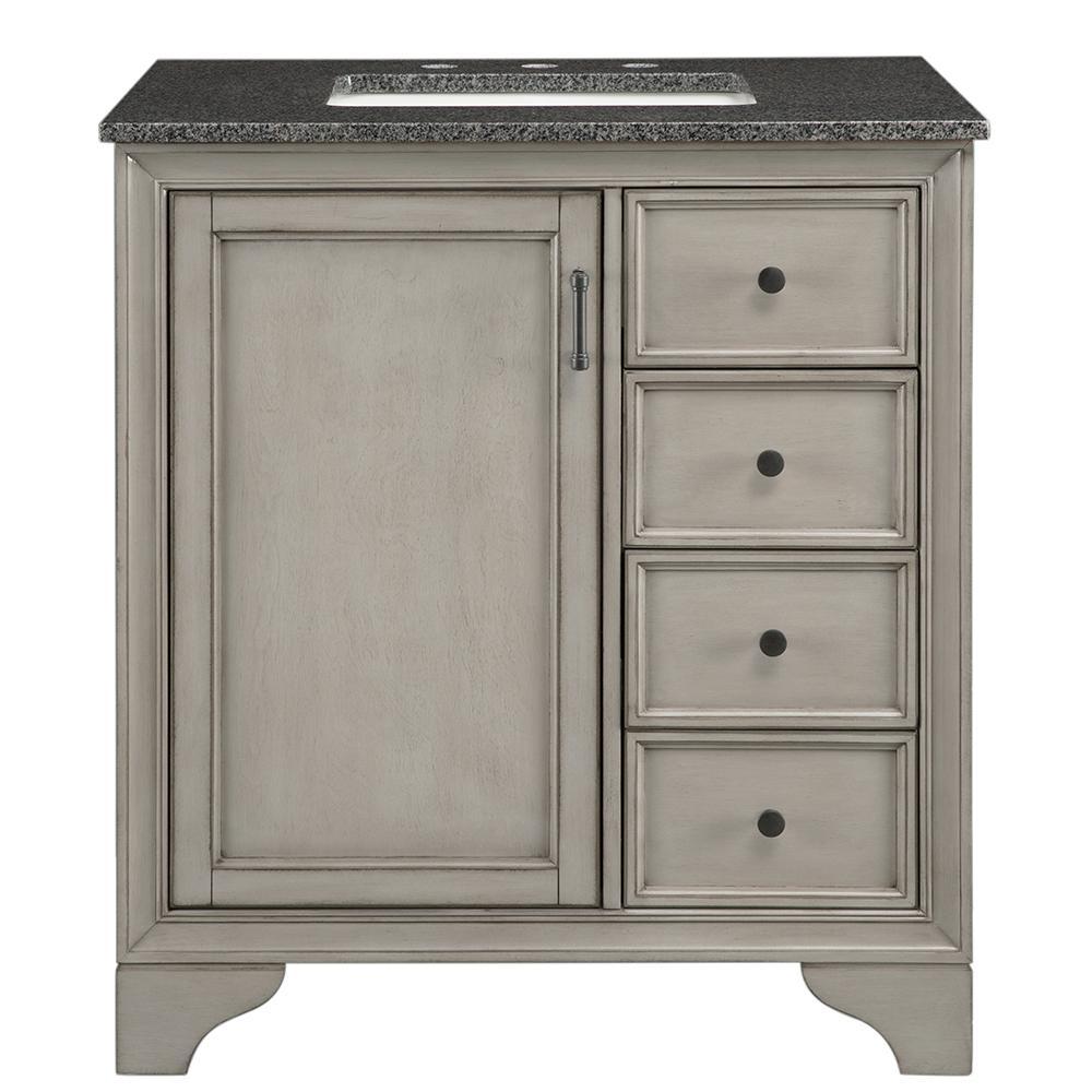 Hazelton 31 in. W x 22 in. D Bath Vanity in Antique Grey with Granite Vanity Top in Dark Grey
