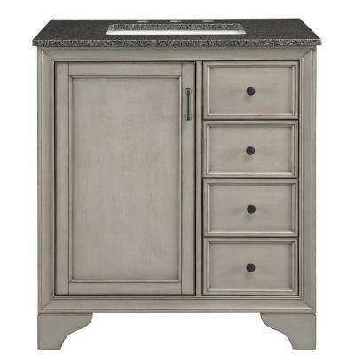 Hazelton 31 in. W x 22 in. D Bath Vanity in Antique Grey with Granite Vanity Top in Dark Grey