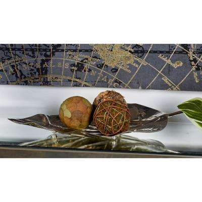 Silver Stainless Steel Leaf Trays (Set of 2)